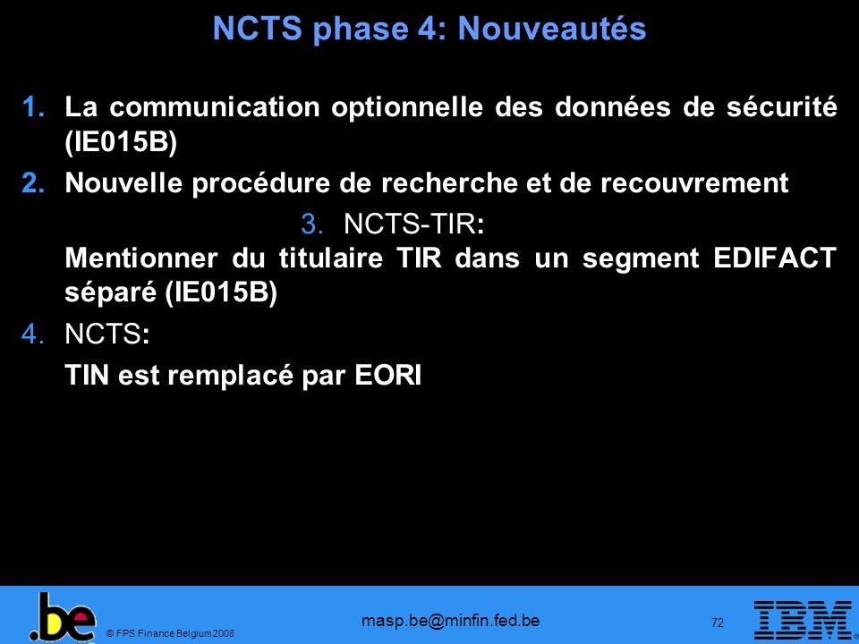 NCTS phase 4: Nouveautés
