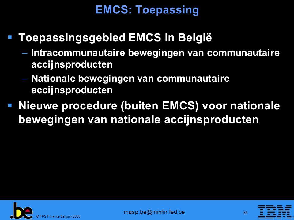Toepassingsgebied EMCS in België