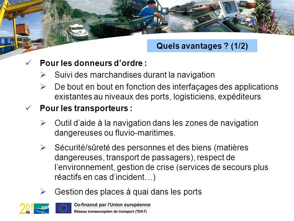 Quels avantages (1/2) Pour les donneurs d'ordre : Suivi des marchandises durant la navigation.
