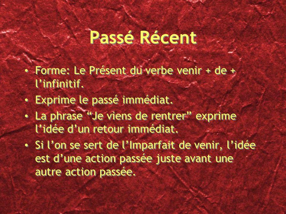 Passé Récent Forme: Le Présent du verbe venir + de + l'infinitif.