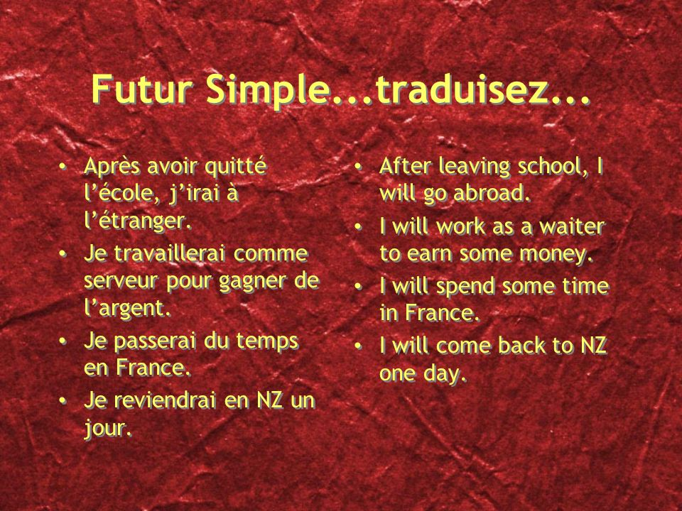 Futur Simple...traduisez...