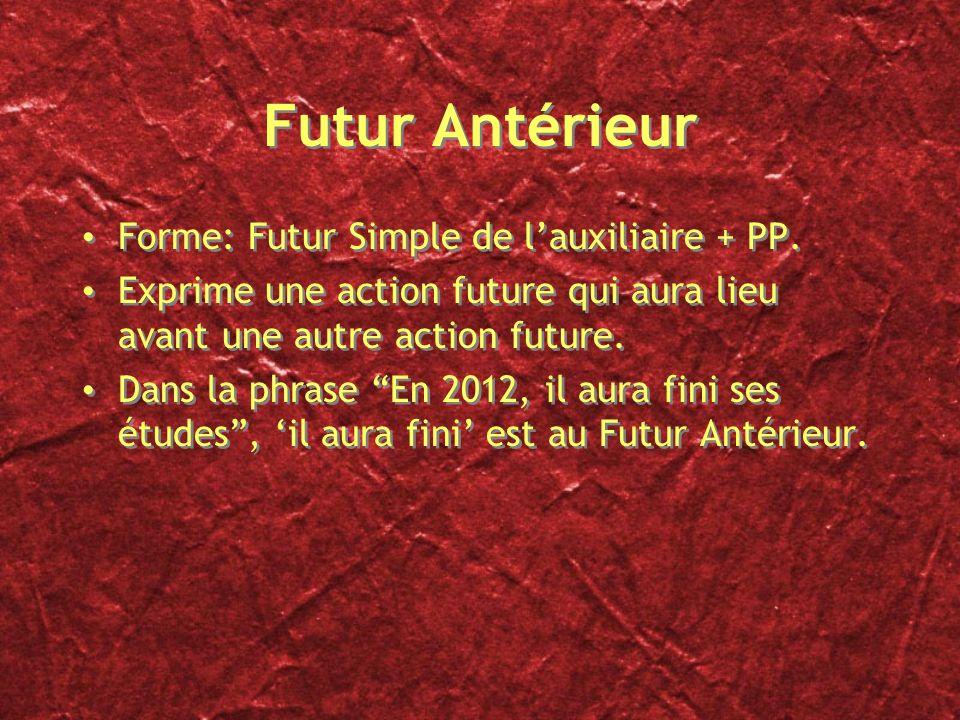 Futur Antérieur Forme: Futur Simple de l'auxiliaire + PP.