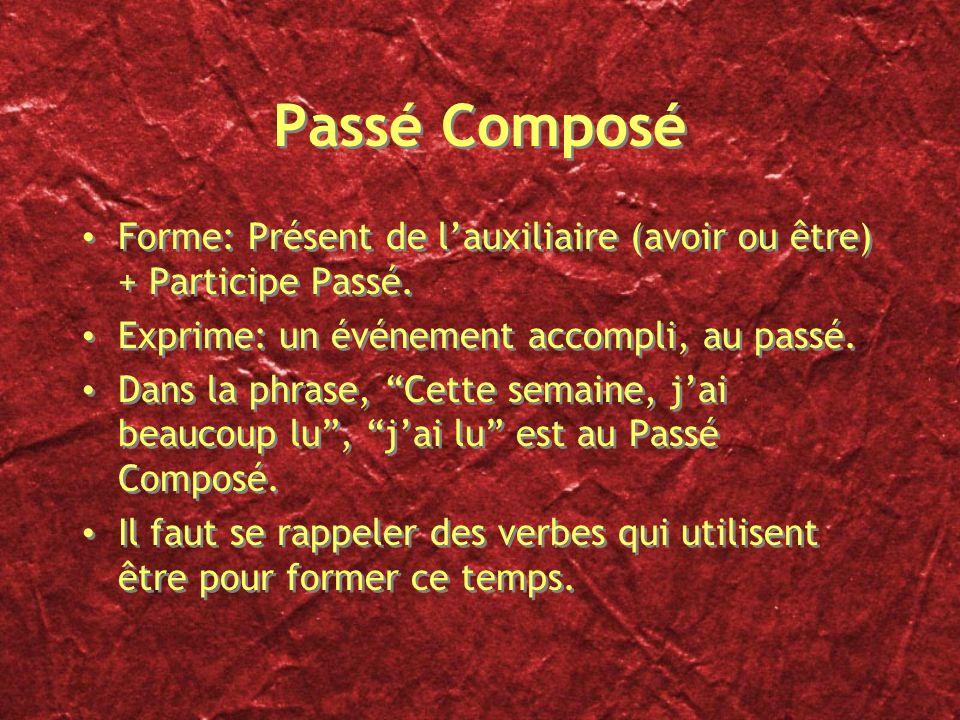 Passé Composé Forme: Présent de l'auxiliaire (avoir ou être) + Participe Passé. Exprime: un événement accompli, au passé.