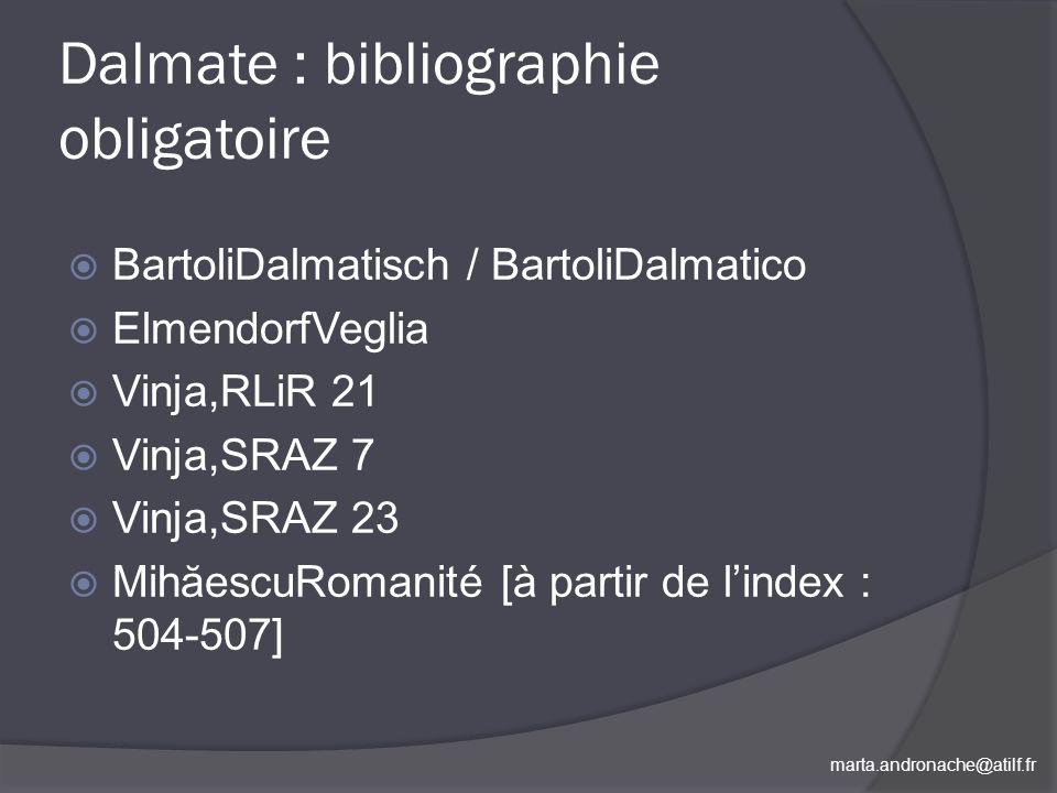 Dalmate : bibliographie obligatoire