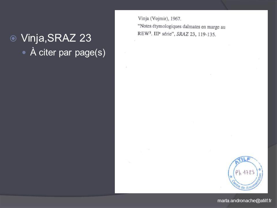 Vinja,SRAZ 23 À citer par page(s)