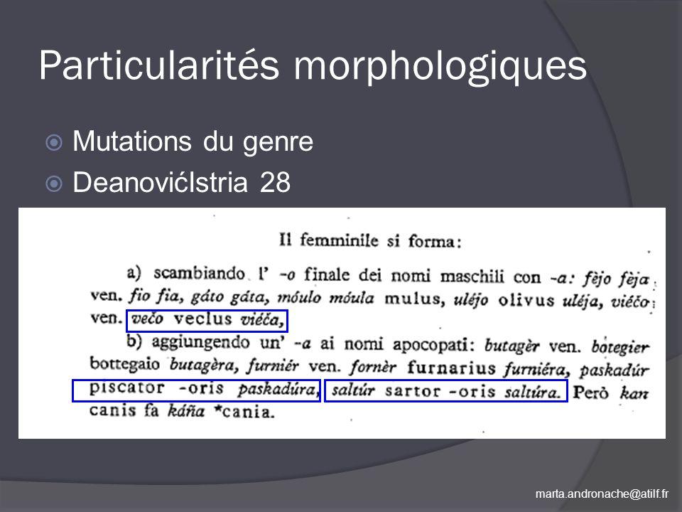 Particularités morphologiques