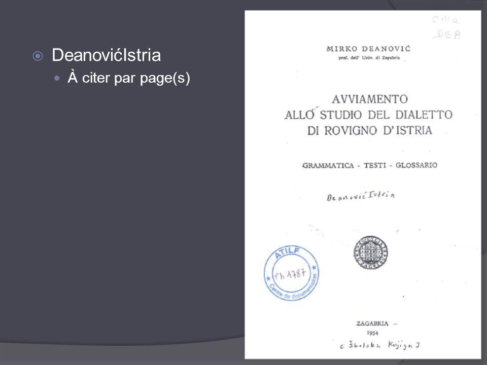 DeanovićIstria À citer par page(s)