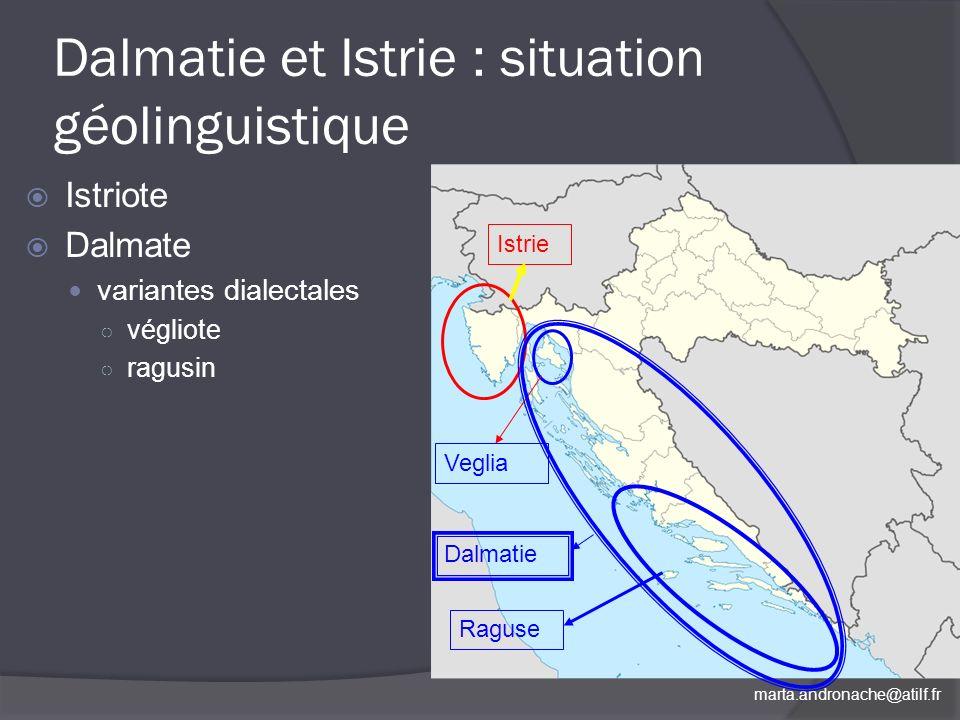 Dalmatie et Istrie : situation géolinguistique