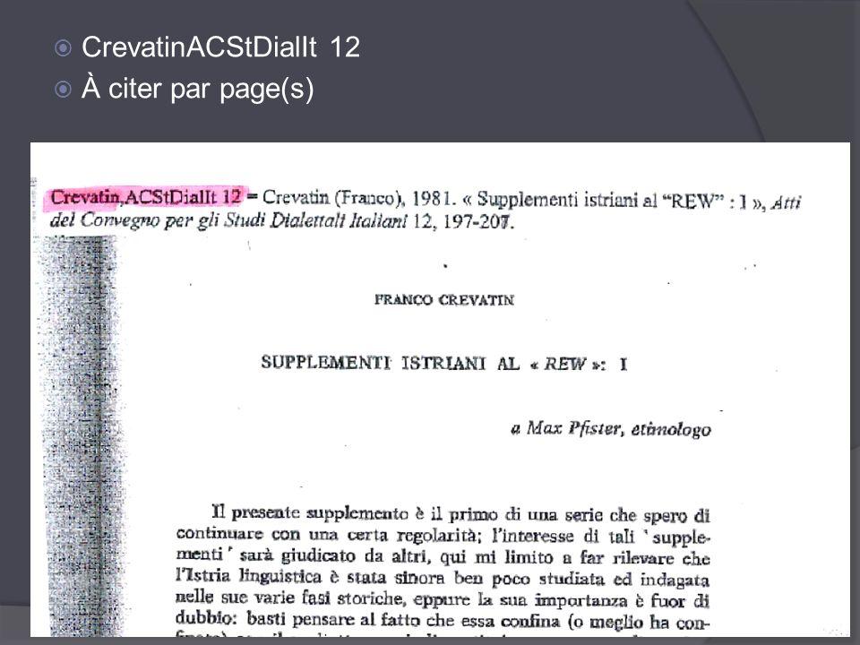 CrevatinACStDialIt 12 À citer par page(s) Et de Crevatin.