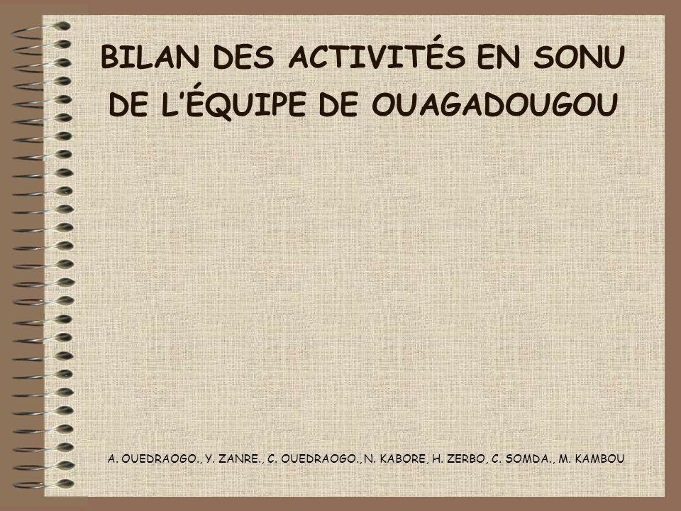 BILAN DES ACTIVITÉS EN SONU DE L'ÉQUIPE DE OUAGADOUGOU