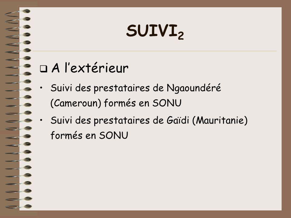 SUIVI2 q A l'extérieur. Suivi des prestataires de Ngaoundéré (Cameroun) formés en SONU.