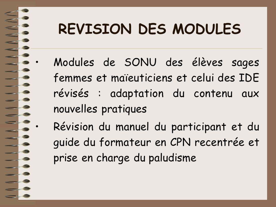 REVISION DES MODULES Modules de SONU des élèves sages femmes et maïeuticiens et celui des IDE révisés : adaptation du contenu aux nouvelles pratiques.