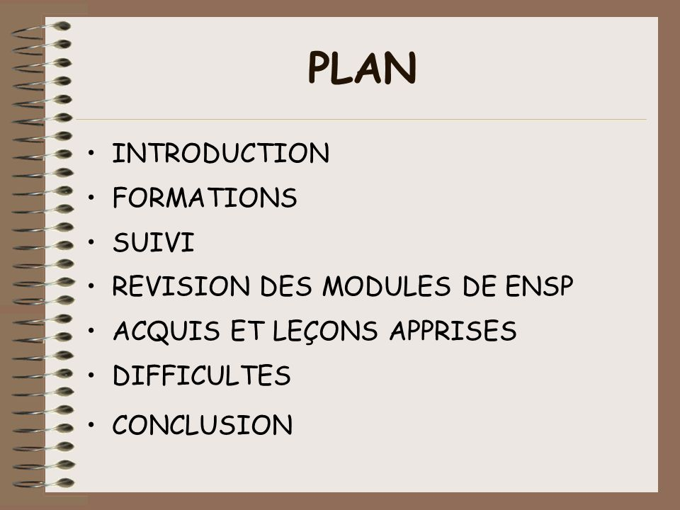 PLAN INTRODUCTION FORMATIONS SUIVI REVISION DES MODULES DE ENSP