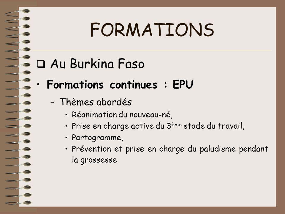 FORMATIONS q Au Burkina Faso Formations continues : EPU Thèmes abordés