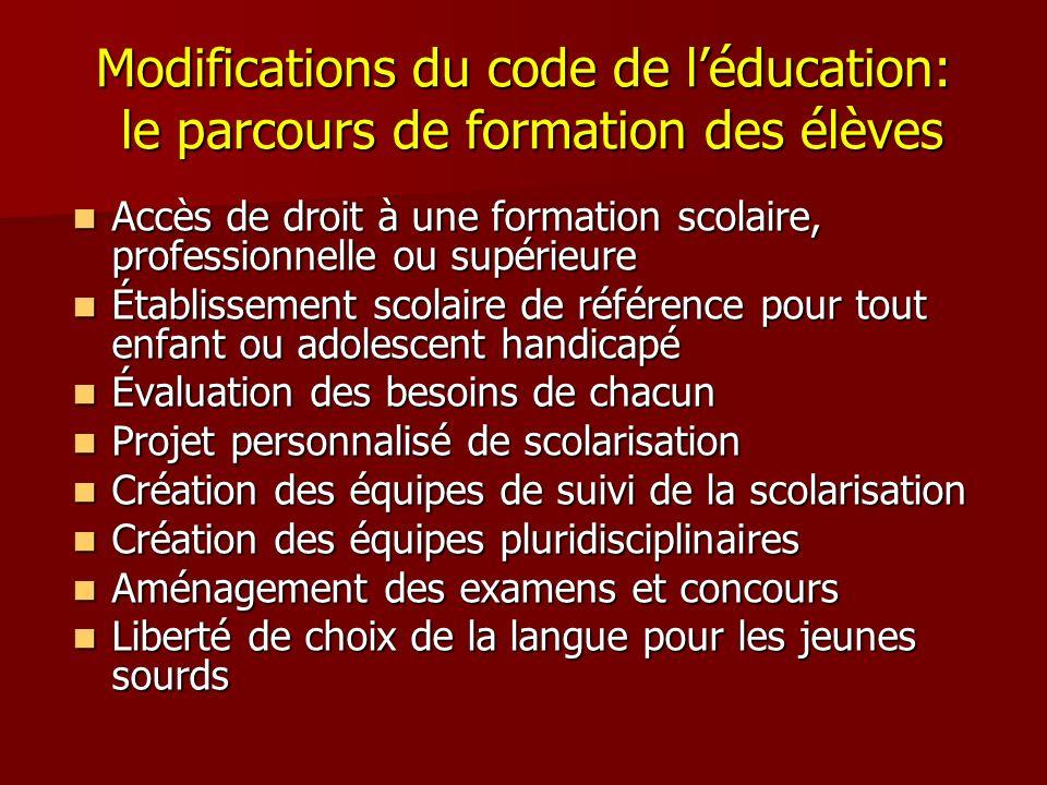 Modifications du code de l'éducation: le parcours de formation des élèves