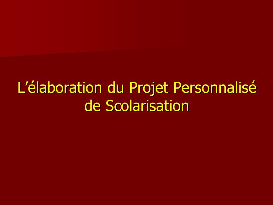L'élaboration du Projet Personnalisé de Scolarisation