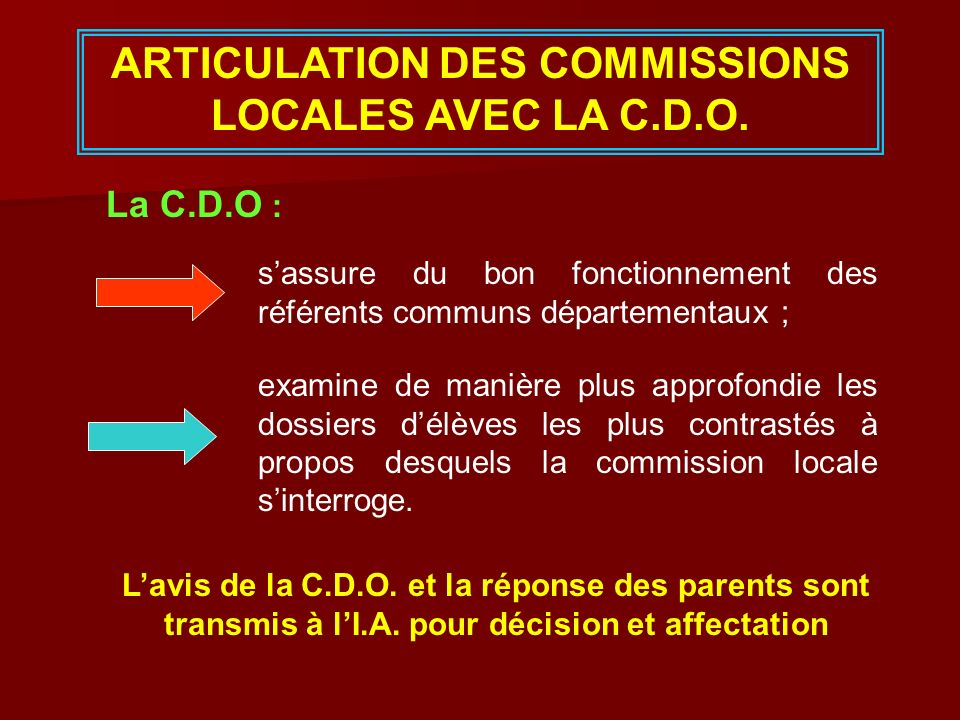 ARTICULATION DES COMMISSIONS LOCALES AVEC LA C.D.O.
