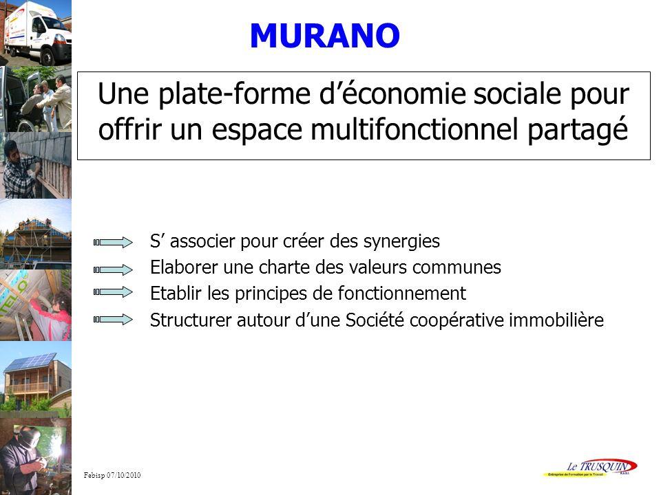 MURANO Une plate-forme d'économie sociale pour offrir un espace multifonctionnel partagé. S' associer pour créer des synergies.