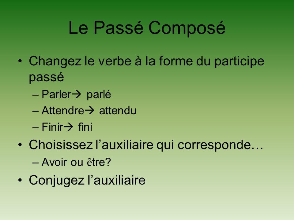 Le Passé Composé Changez le verbe à la forme du participe passé
