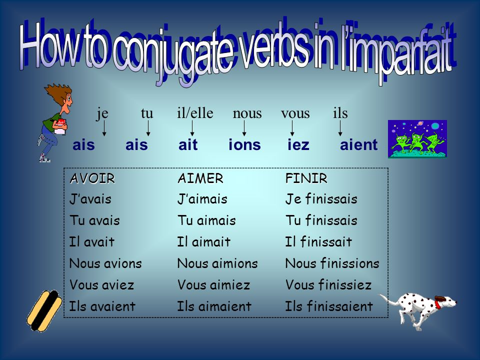 How to conjugate verbs in l'imparfait