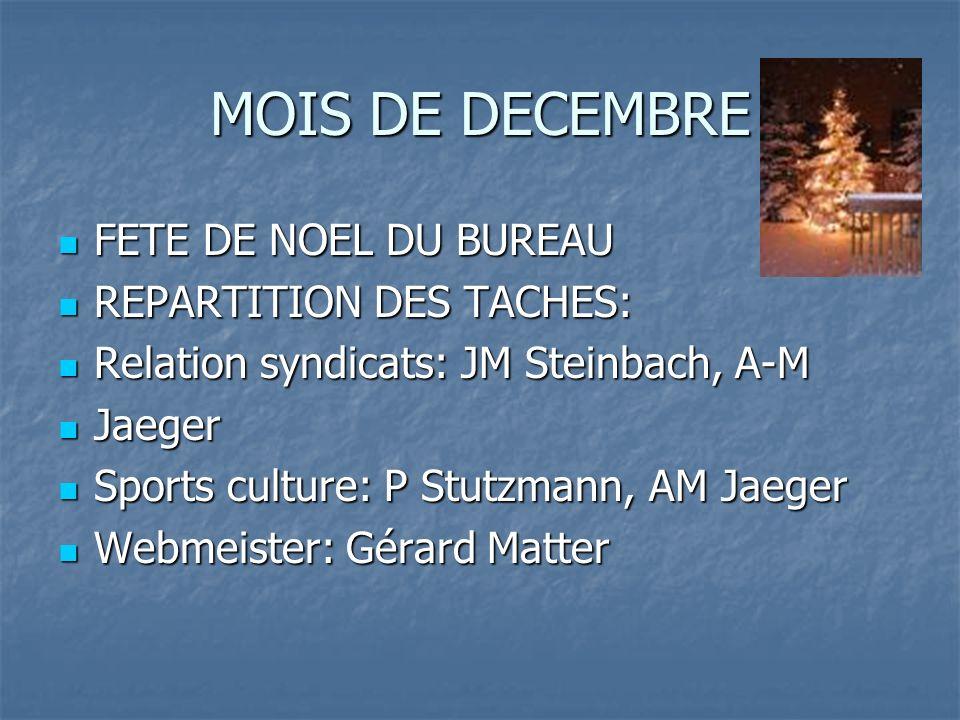 MOIS DE DECEMBRE FETE DE NOEL DU BUREAU REPARTITION DES TACHES: