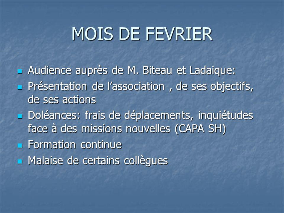 MOIS DE FEVRIER Audience auprès de M. Biteau et Ladaique: