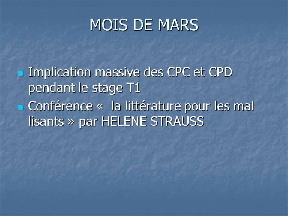 MOIS DE MARS Implication massive des CPC et CPD pendant le stage T1