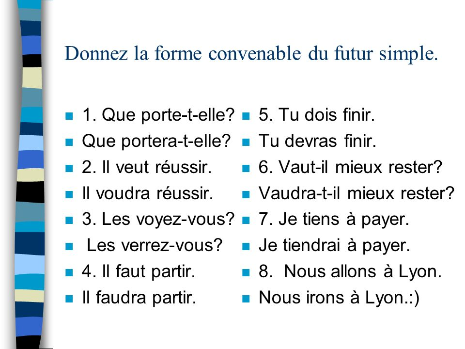 Donnez la forme convenable du futur simple.