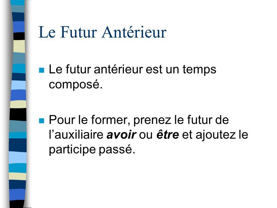Le Futur Antérieur Le futur antérieur est un temps composé.