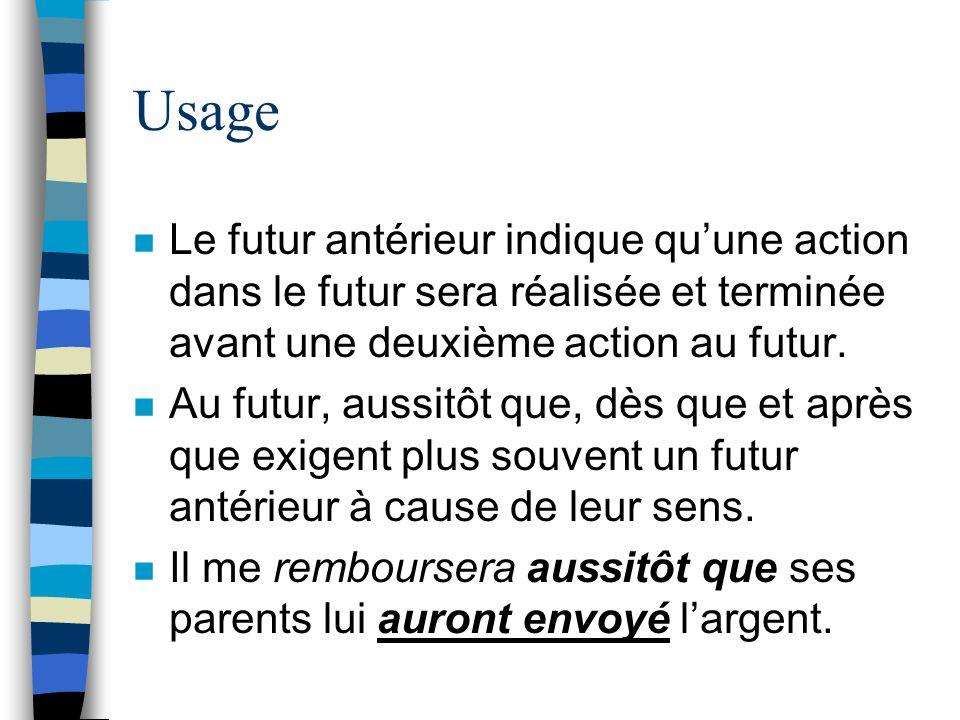 Usage Le futur antérieur indique qu'une action dans le futur sera réalisée et terminée avant une deuxième action au futur.