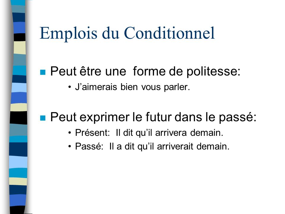 Emplois du Conditionnel