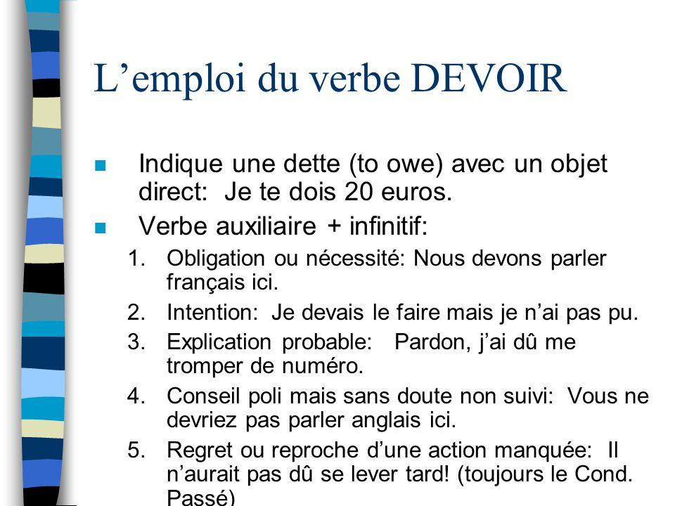 L'emploi du verbe DEVOIR