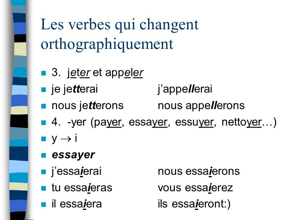 Les verbes qui changent orthographiquement