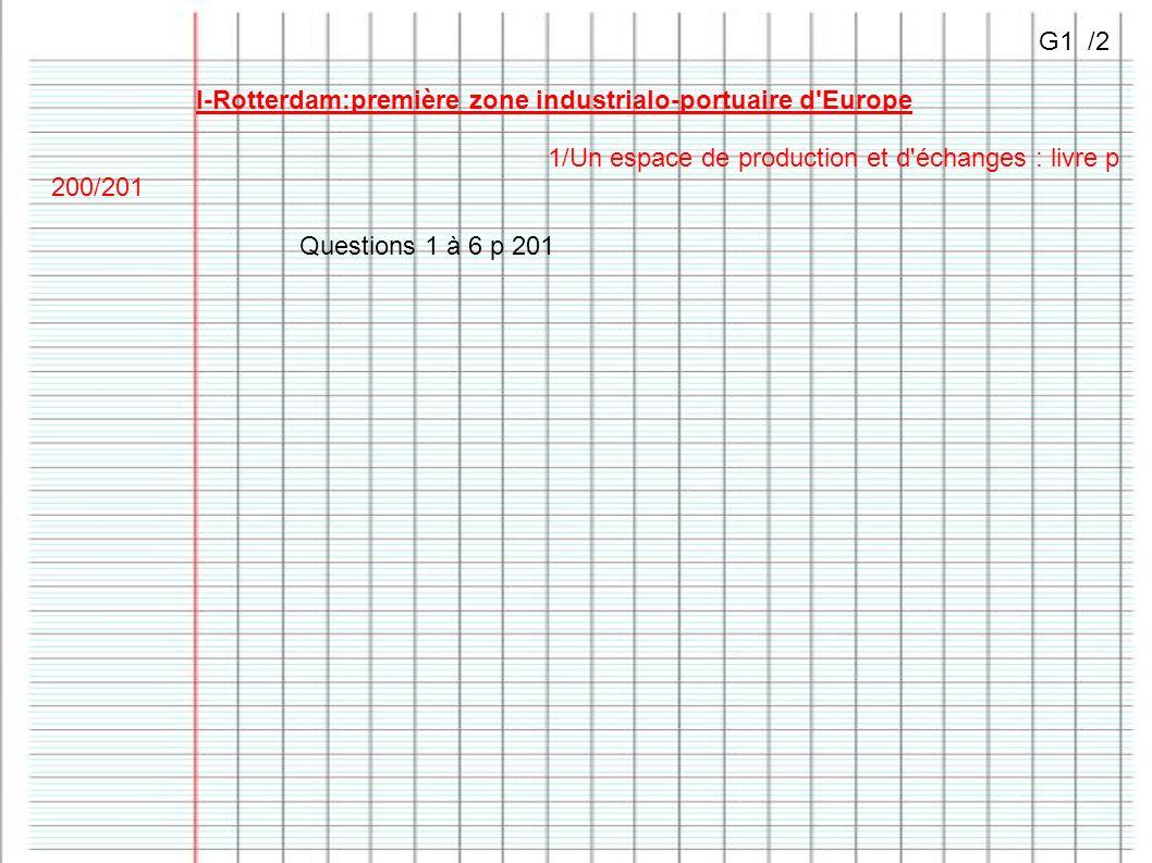 G1 /2 I-Rotterdam:première zone industrialo-portuaire d Europe. 1/Un espace de production et d échanges : livre p 200/201.