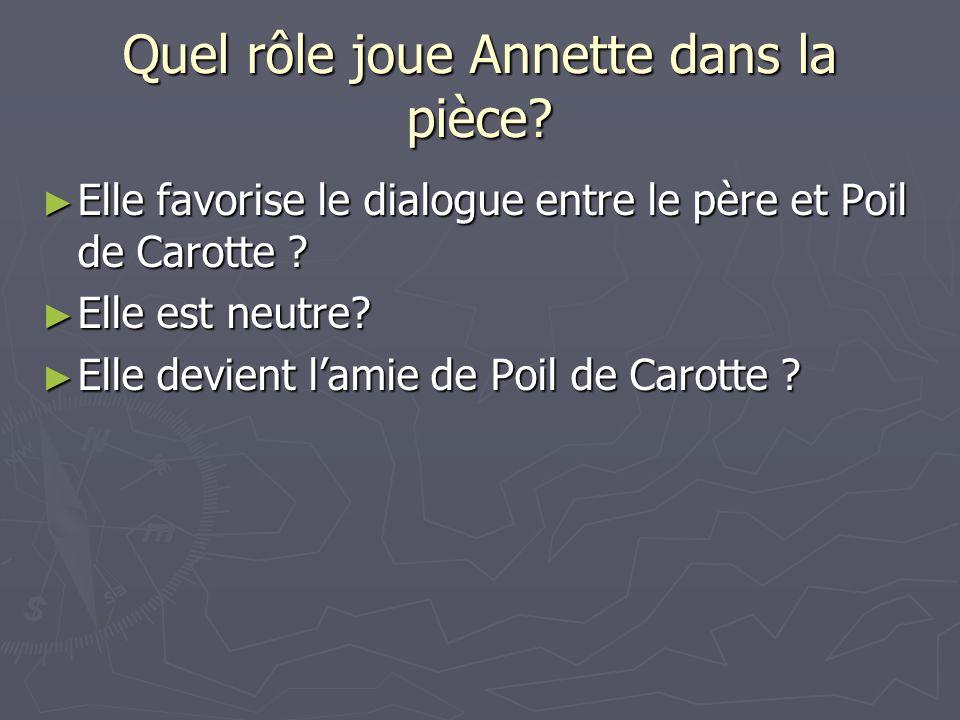 Quel rôle joue Annette dans la pièce