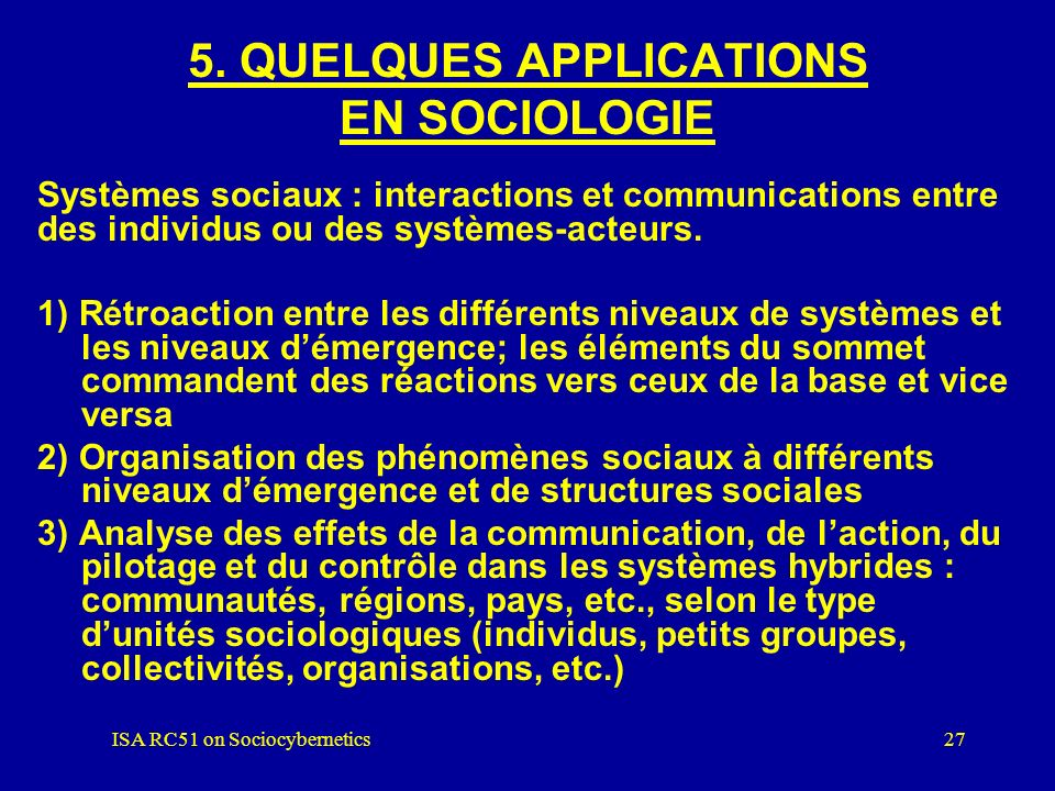 5. QUELQUES APPLICATIONS EN SOCIOLOGIE
