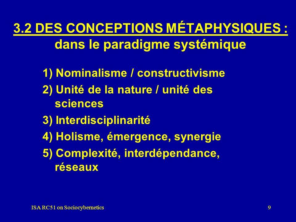 3.2 DES CONCEPTIONS MÉTAPHYSIQUES : dans le paradigme systémique