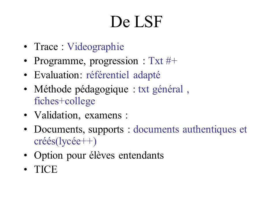 De LSF Trace : Videographie Programme, progression : Txt #+