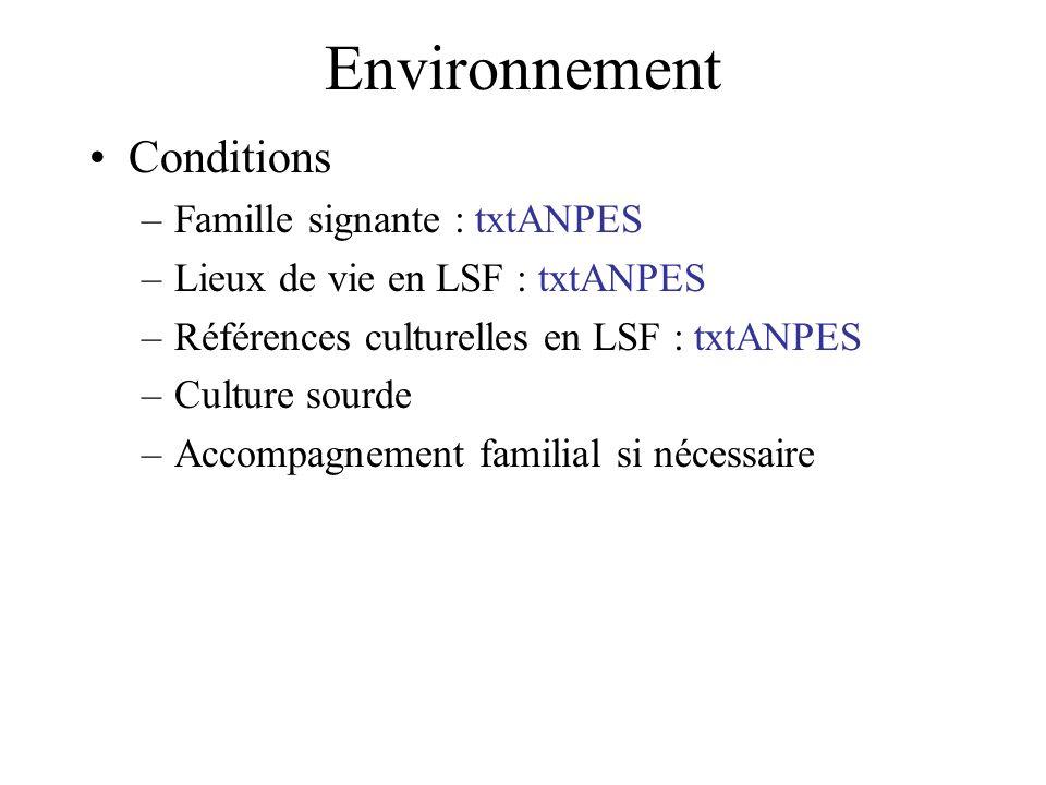 Environnement Conditions Famille signante : txtANPES