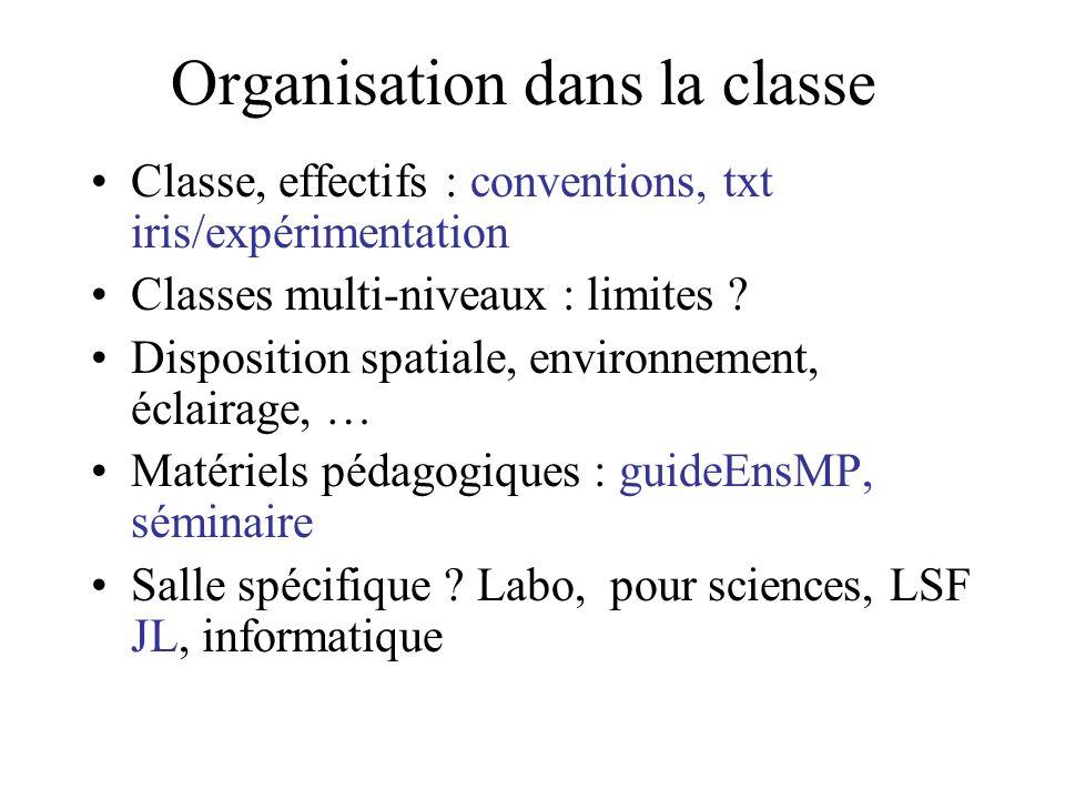Organisation dans la classe