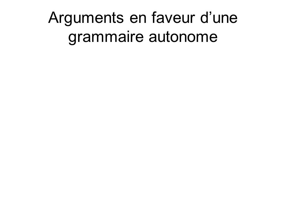 Arguments en faveur d'une grammaire autonome