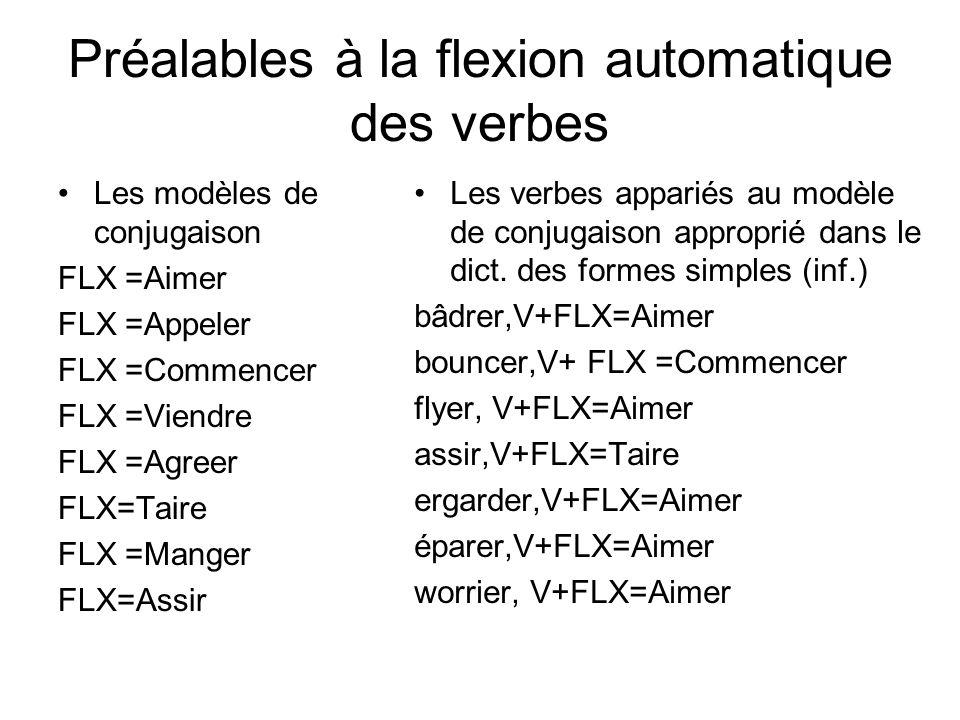 Préalables à la flexion automatique des verbes