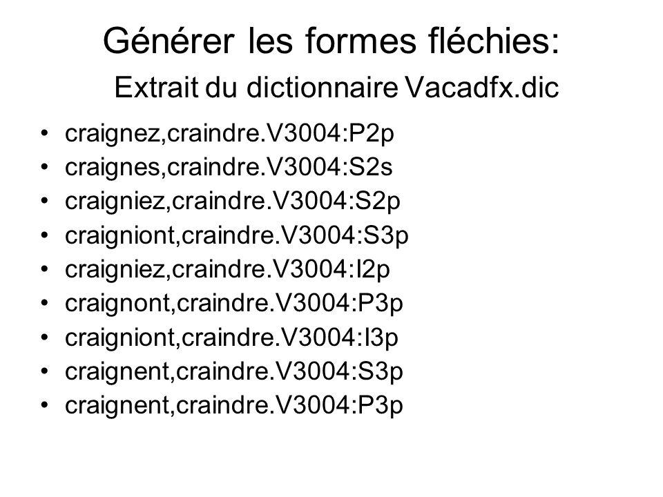 Générer les formes fléchies: Extrait du dictionnaire Vacadfx.dic