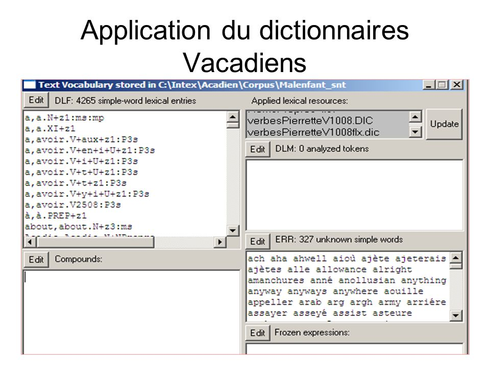 Application du dictionnaires Vacadiens