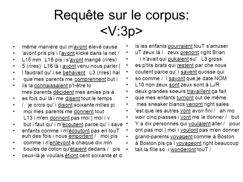 Requête sur le corpus: <V:3p>