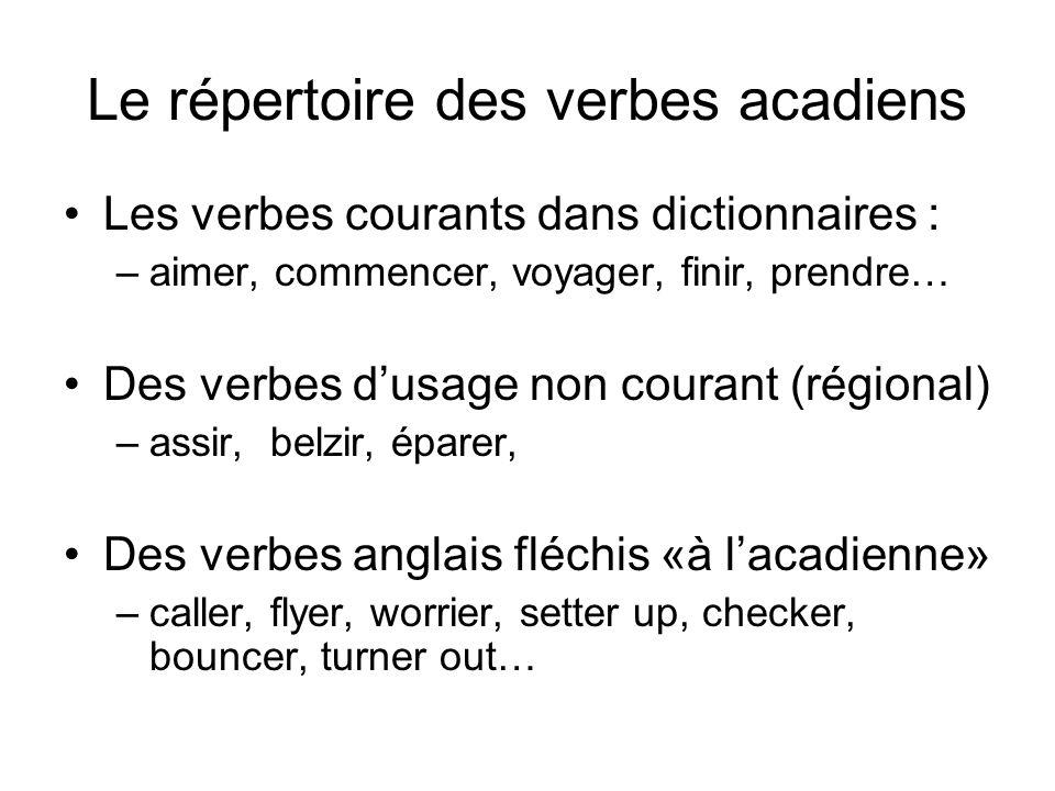 Le répertoire des verbes acadiens