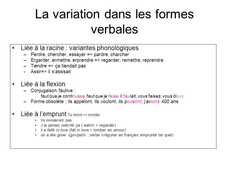 La variation dans les formes verbales