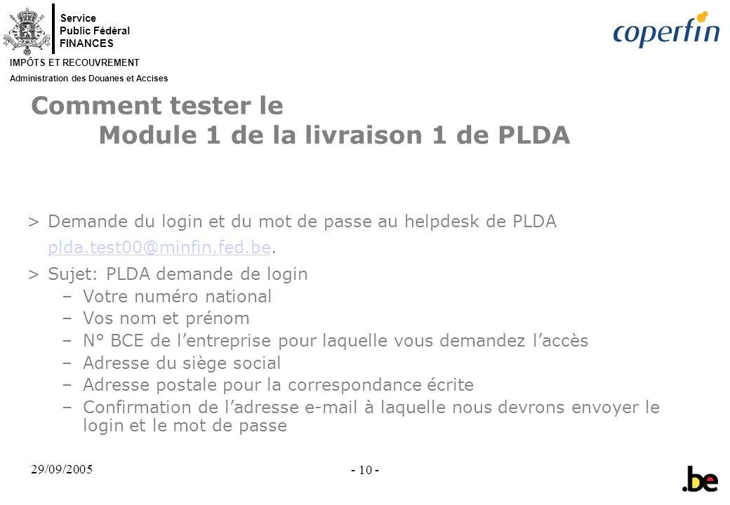Comment tester le Module 1 de la livraison 1 de PLDA