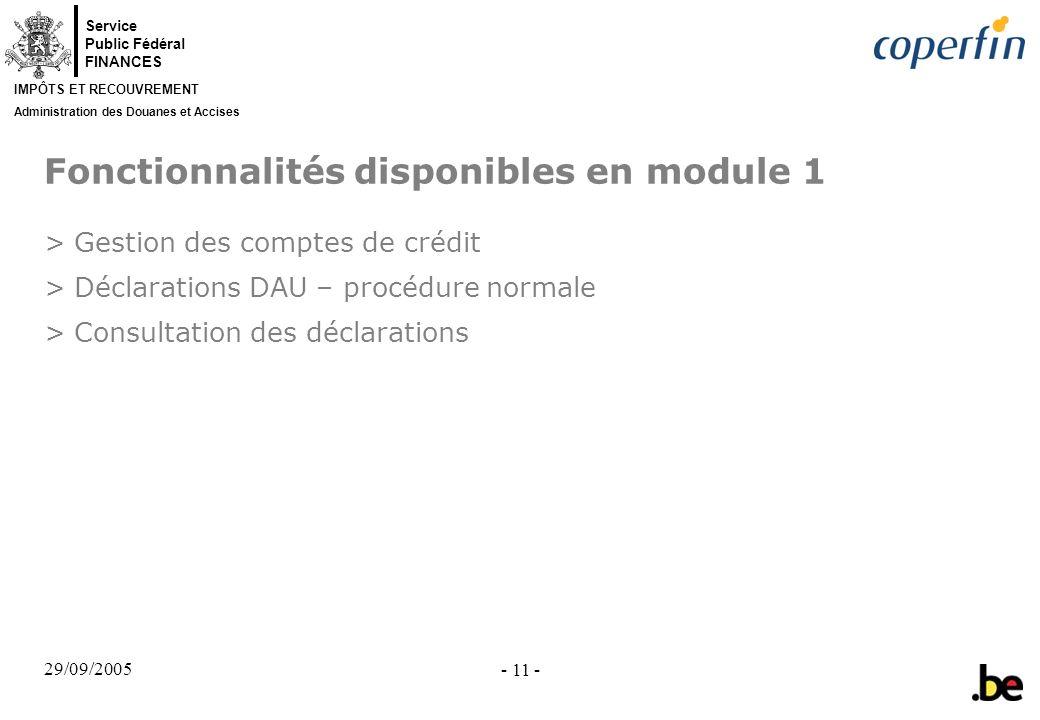 Fonctionnalités disponibles en module 1