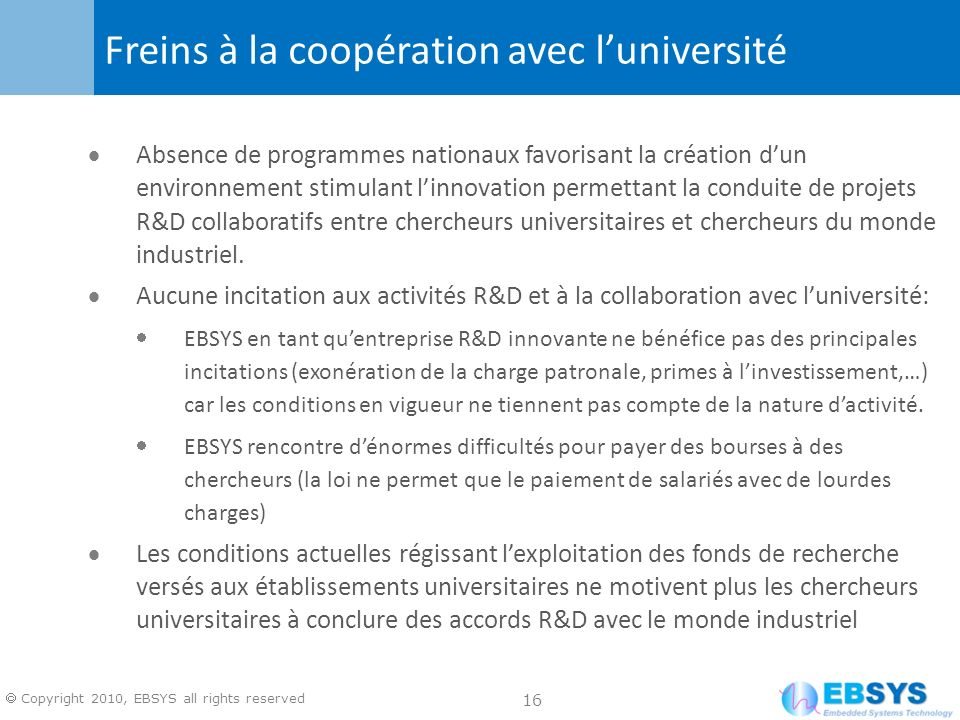 Freins à la coopération avec l'université